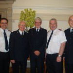 Bandmaster Jonathan Corry with former bandmasters - June 2011